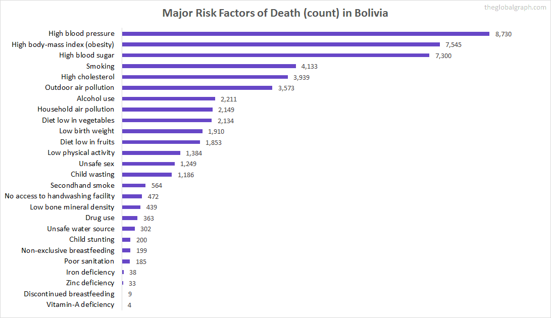 Major Cause of Deaths in Bolivia (and it's count)