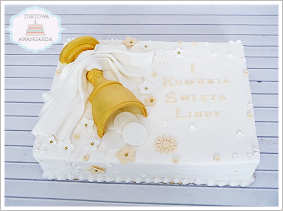 tort z kielichem i kwiatkami na komunię chrzest dziewczynki chłopca Warszawa