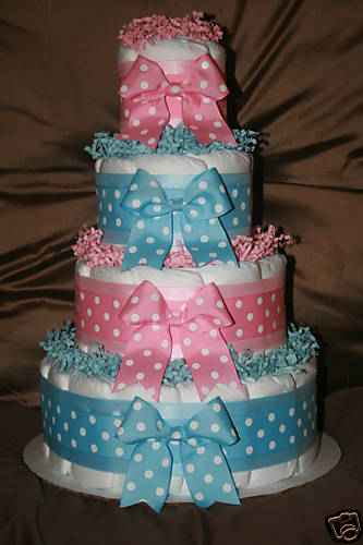 Creations By Karla 4 Tier Twin Diaper Cake