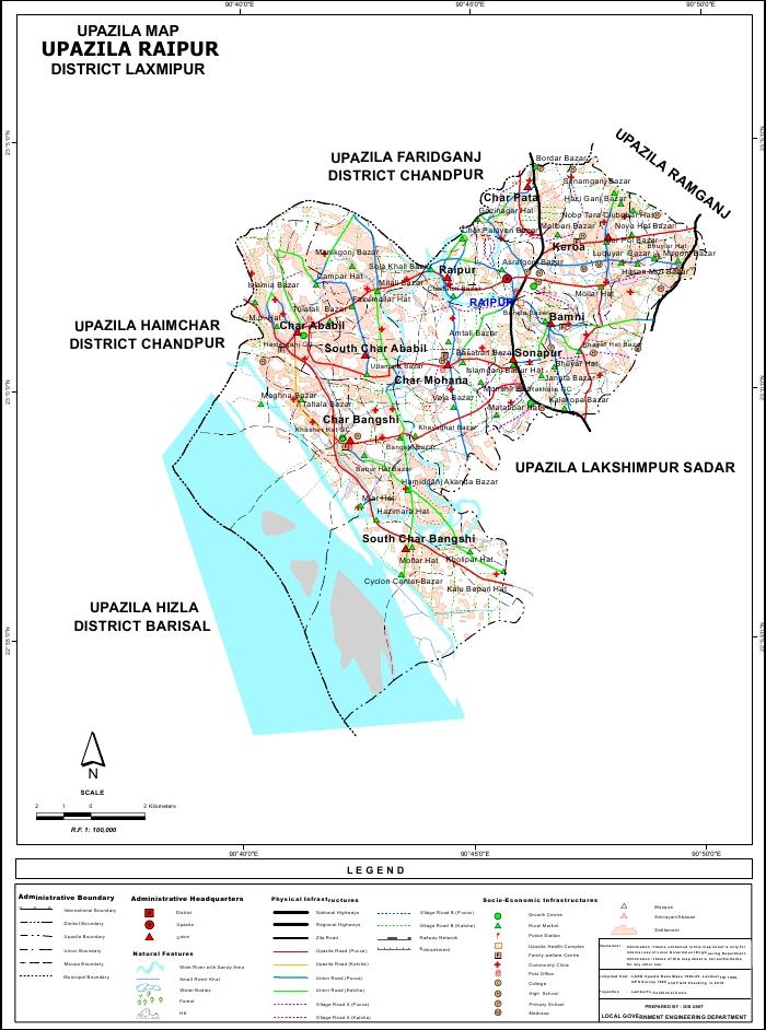 Raipur Upazila Map Lakshmipur District Bangladesh