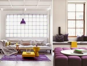salón en amarillo y violeta