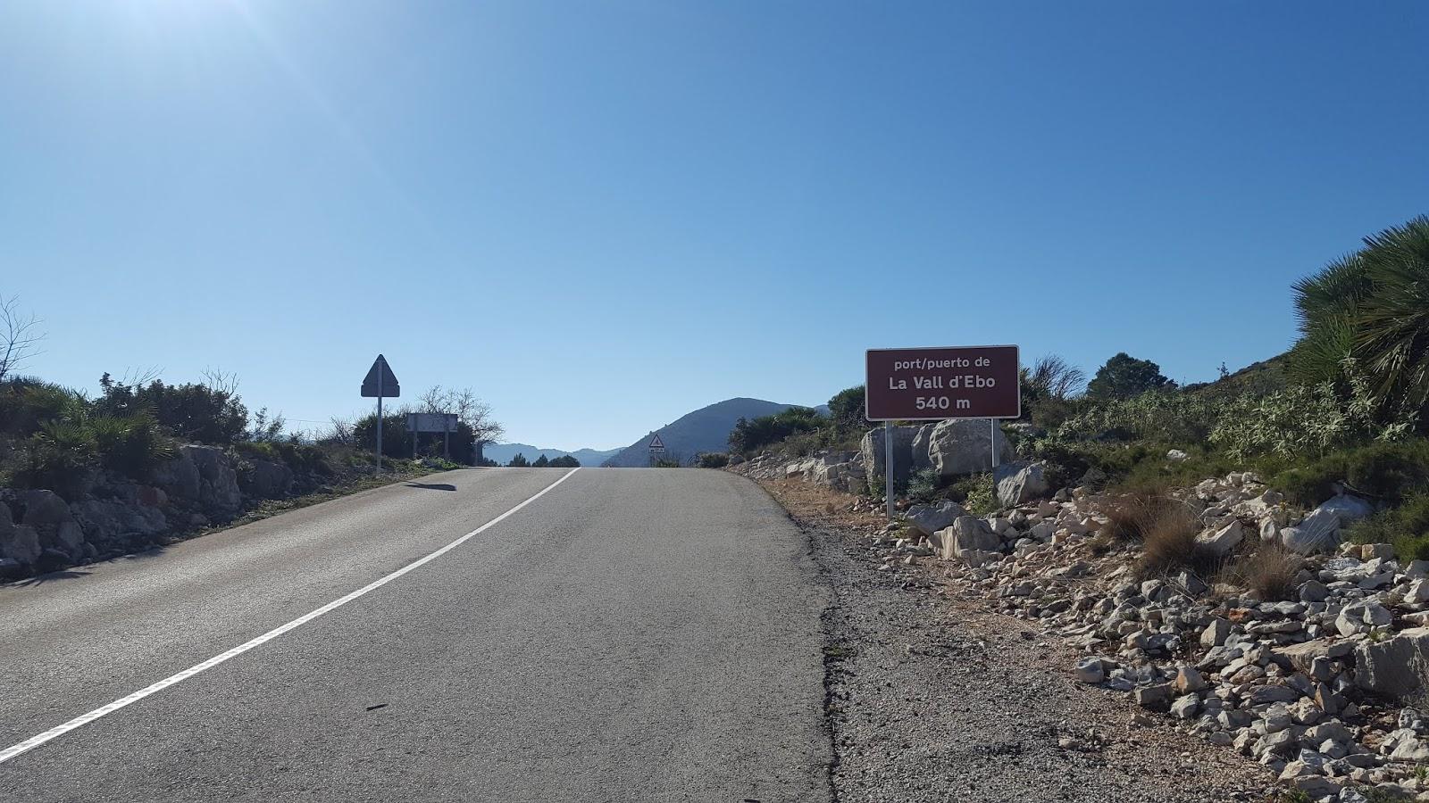 Summit of the Puerto de La Vall d'Ebo