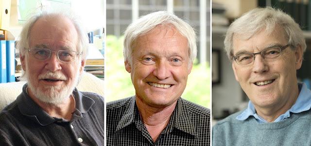 Từ trái qua: Tiến sĩ Dubochet, Tiến sĩ Frank và Tiến sĩ Henderson. Hình ảnh: Đại học Lausanne, Đại học Columbia, Đại học Cambridge/European Pressphoto Agency.