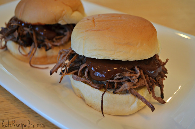 Chocolate-Chili Rubbed Brisket Sliders with Chocolate BBQ Sauce