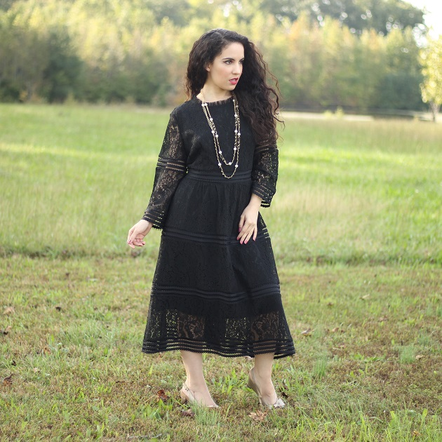 Evatrends Black Lace Dress