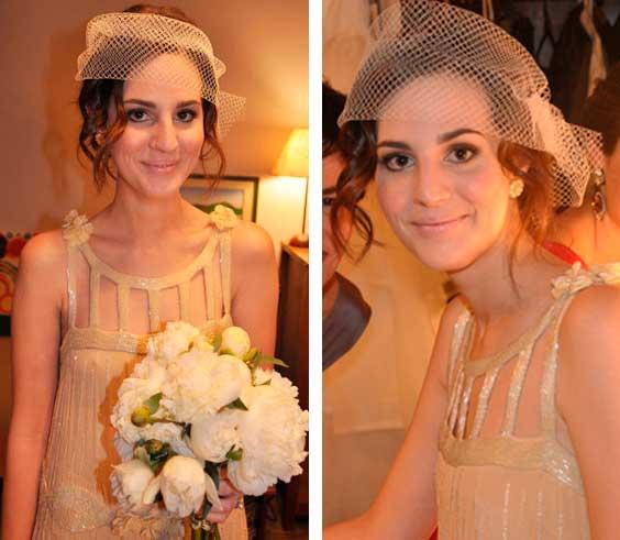 Vic Ceridono de noiva, com voilette (véu)