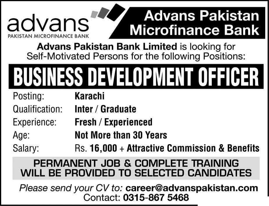 Advans Pakistan Microfinance Bank Jobs Feb 2017