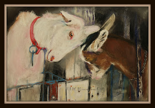 goats playing kids pastel painting 30in30