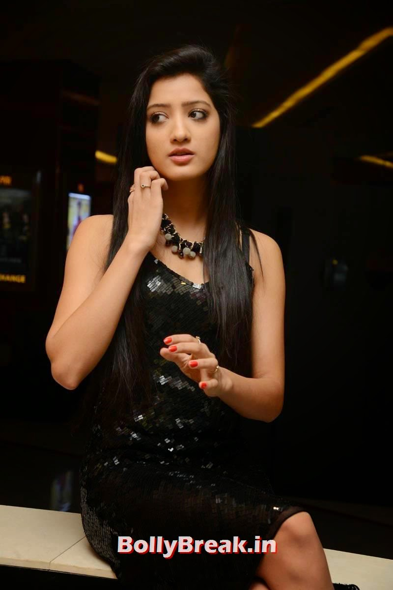 Richa Panai Unseen Stills, Richa Panai Hot Hd Pics in Shiny Black Short Dress