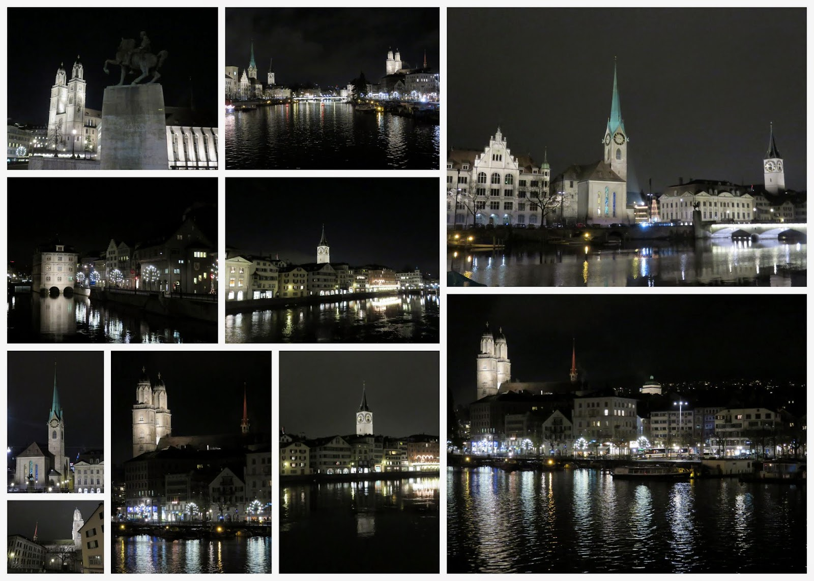 Things to do in Zurich in winter: check out city landmarks at night