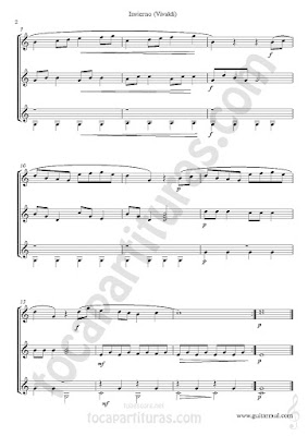 2 hoja de Música El Invierno Partitura de trío de Guitarra The Winter Sheet Music for three guitars, partitura para tres guitarra