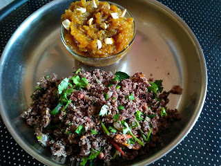 Hot-n-sour Finger millet Beaten rice (Poha), Pumpkin Sweet Halwa