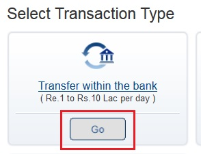 Select Transaction Type of Beneficiary in HDFC