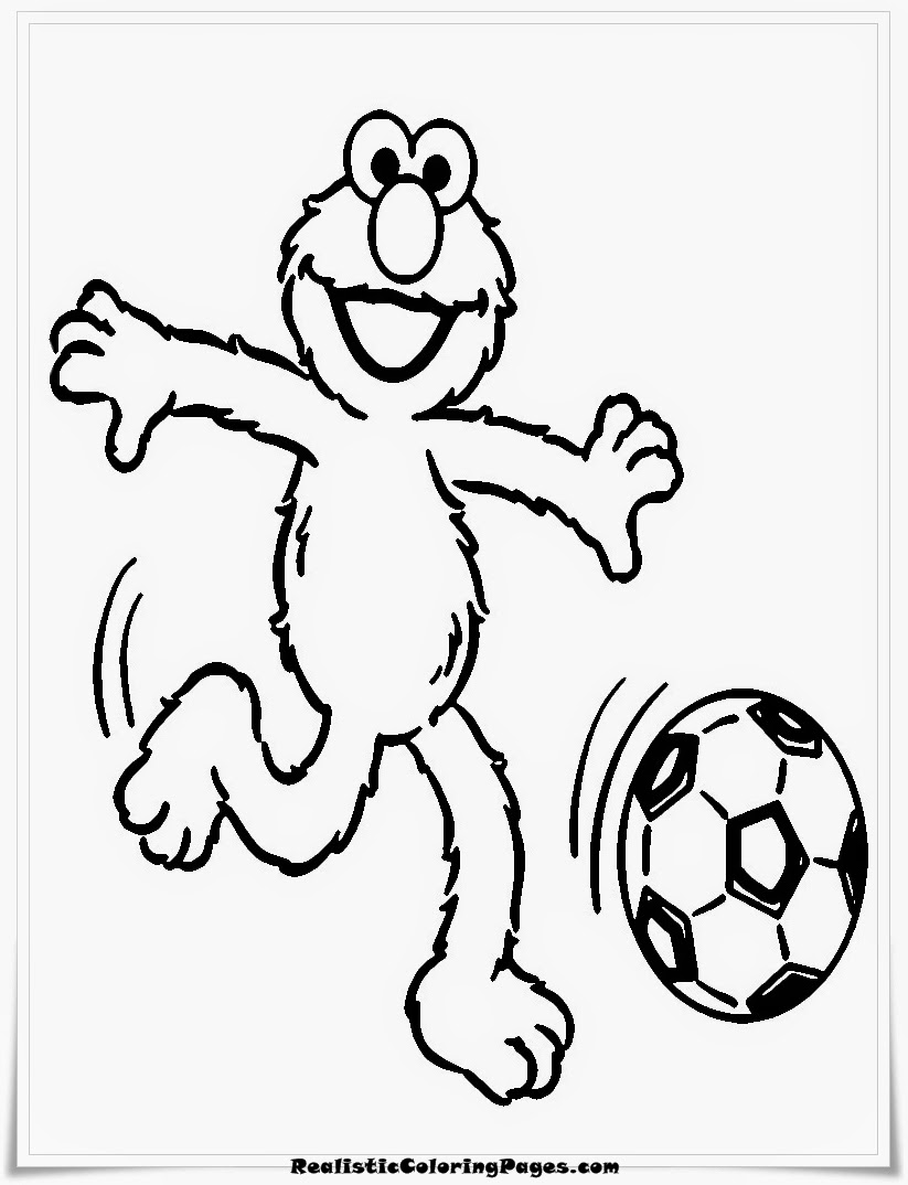 Elmo Playing Soccer Coloring Pages