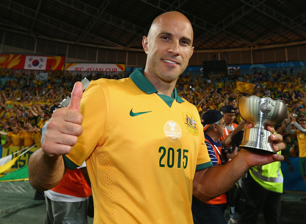 Mark Bresciano of Australia celebrates after Australia defeated Korea Republic during the 2015 Asian Cup final match between Korea Republic and the Australian Socceroos at ANZ Stadium on January 31, 2015 in Sydney, Australia