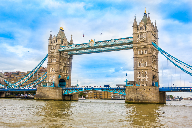 View of Tower Bridge from Thames River Boat - London, England
