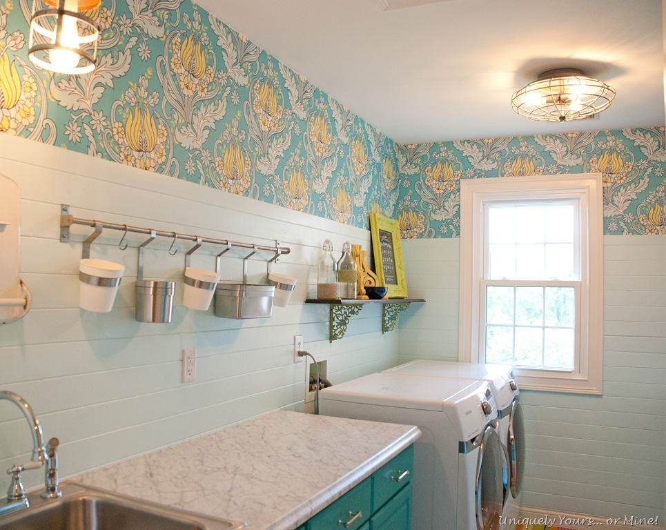 Yellow and teal laundry room
