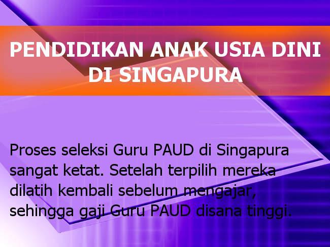 Paud Pendidikan Anak Usia Dini Di Singapura Vs Indonesia Paud Jateng
