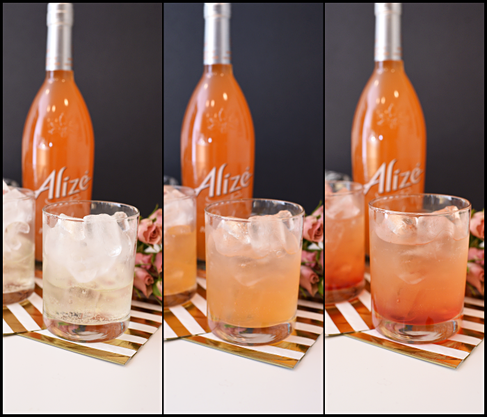 A delicious, simple and easy to make bubbly peach cocktail recipe made with Alize Peach vodka. Perfect for brunch, girls night in and entertaining. The ombre color of the cocktail is stunning.