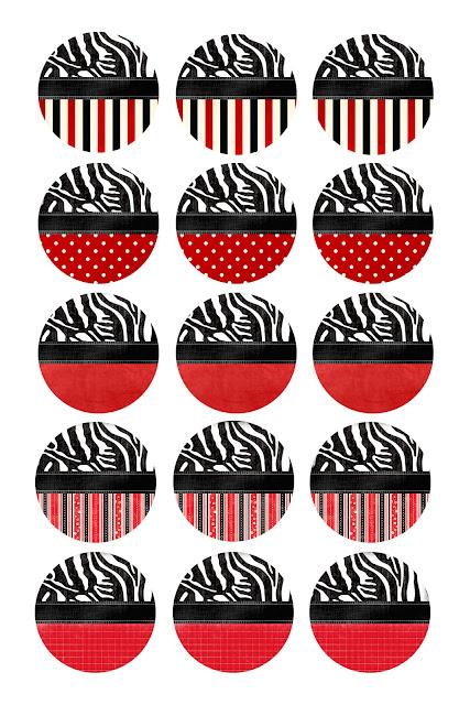 Cebra y Rojo: Etiquetas o Toppers para Imprimir Gratis.