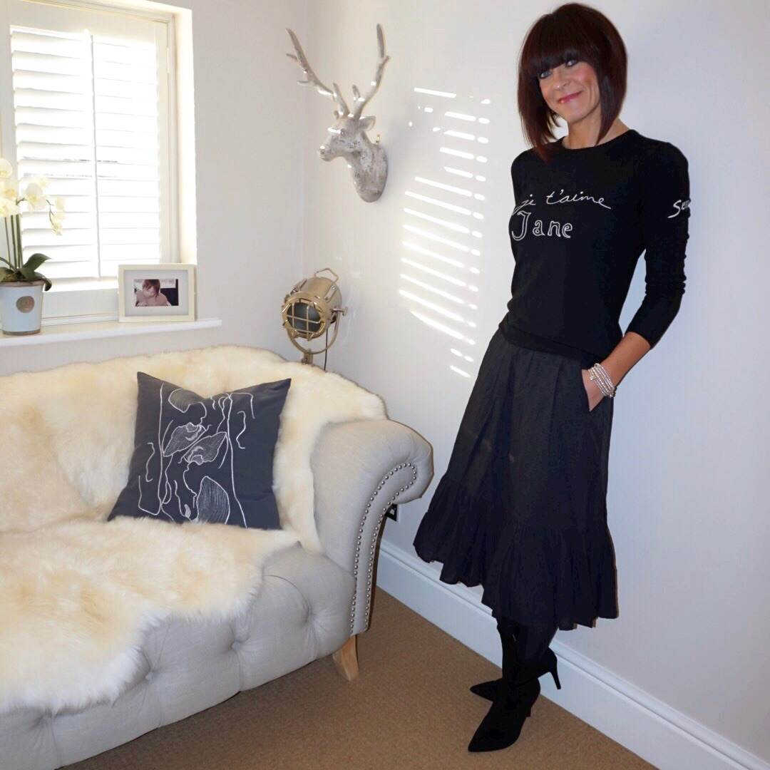my midlife fashion, bella freud je taime jane sweater, j crew frill detail midi skirt, marks and spencer stiletto heel size zip ankle boots