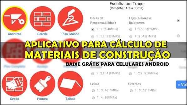 aplicativo para calculo de materiais de construção