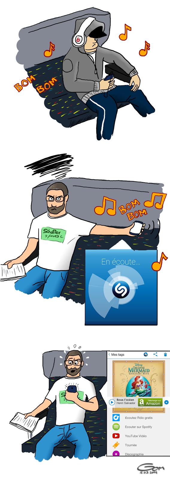 Shazam et de la musique trop forte dans les trains
