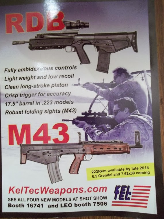 A picture of Kel-Tec's new RDB ( 223) and M43 (7 62x39