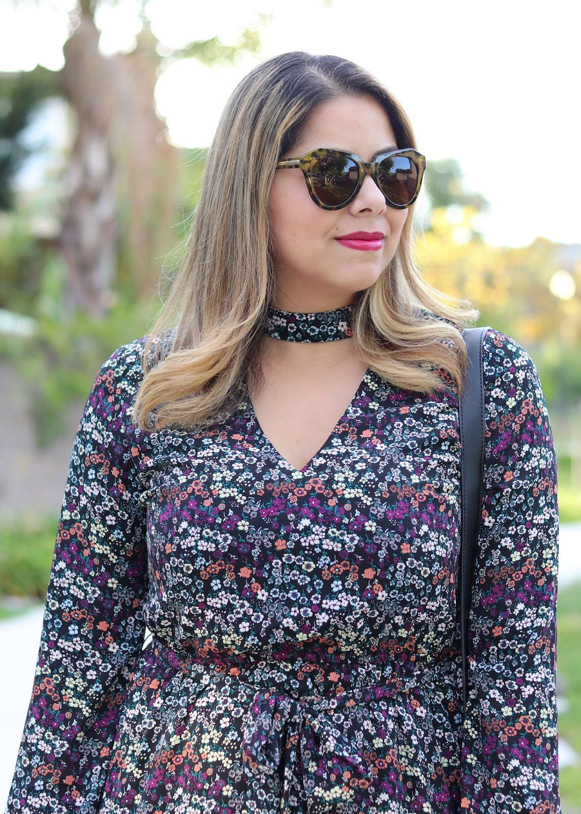 Karen Walker sunglasses, mac liptensity marsala, floral dress with choker