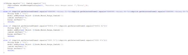 6 9a - Tutorial Mmebuat Aplikasi Penjualan HP Menggunakan Java