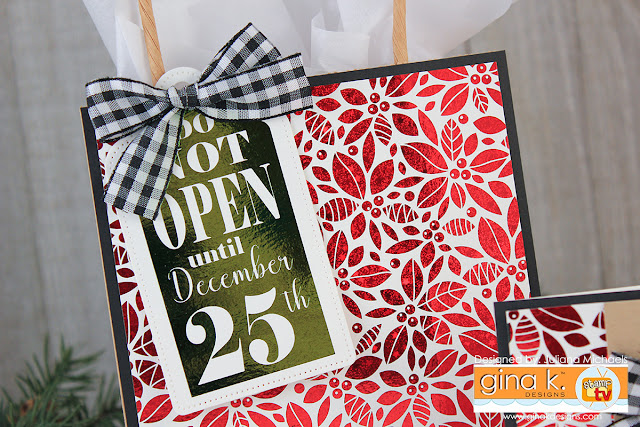 Detail Christmas Gift Bag by Juliana Michaels featuring Gina K. Designs Foil-Mates™ and Fancy Foils