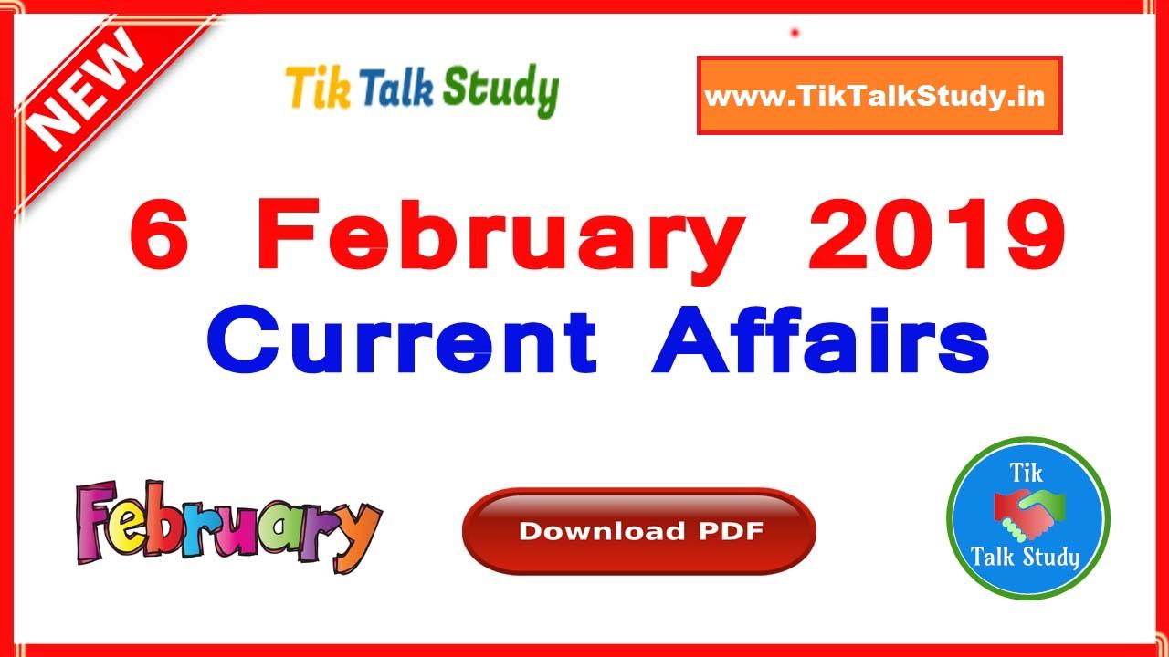 6 February 2019 : Current Affairs in Hindi PDF Download - Tik Talk Study