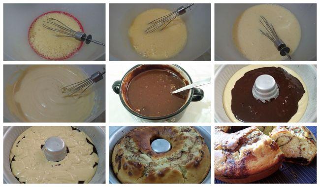 Preparación del bizcocho de nata con relleno de chocolate