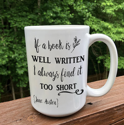 Jane Austen Mug on Etsy with review by Tomes and Tequila blog