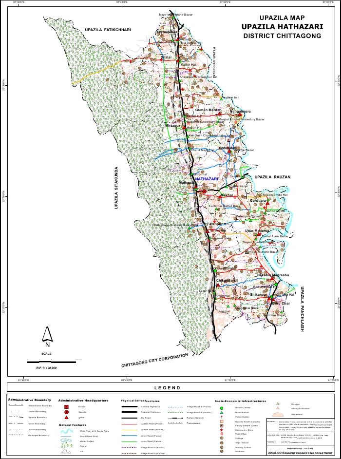 Hathazari Upazila Map Chittagong District Bangladesh