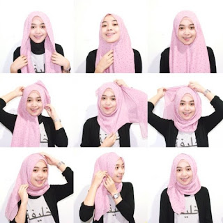 Tutorial hijab segi empat lebaran simple