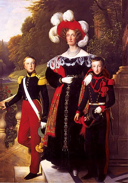 Maria Amalia with her children Henry of Orleans, Duke of Aumale and Antoine of Orléans, Duke of Montpensier by Louis Hersent, 1835