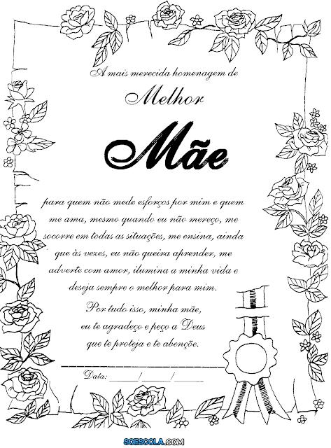 Nesta postagem trago para vocês dois Modelos de Certificado para o Dia das Mães prontos para imprimir.  São excelentes sugestões para presentear a mamãe neste dia tão importante.