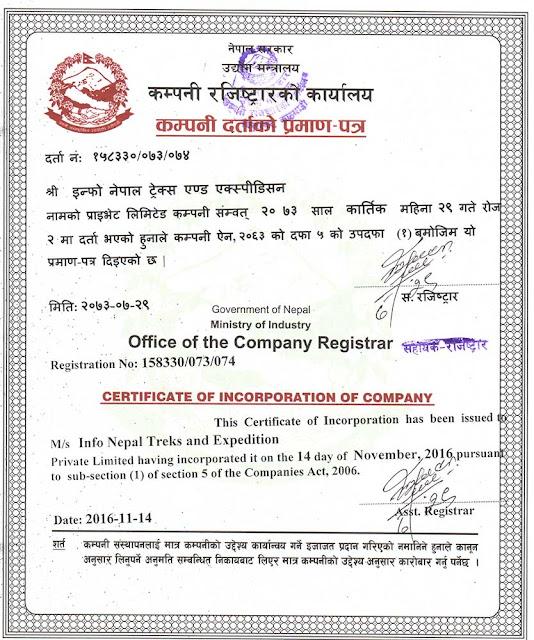 Company Registration Certification