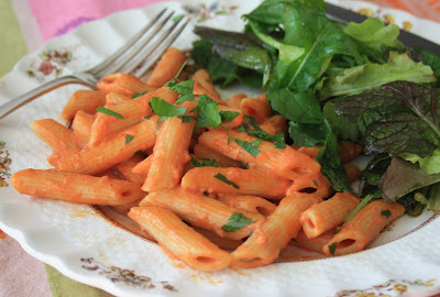 Penne pasta with tomato vodka cream sauce is fast and delicious