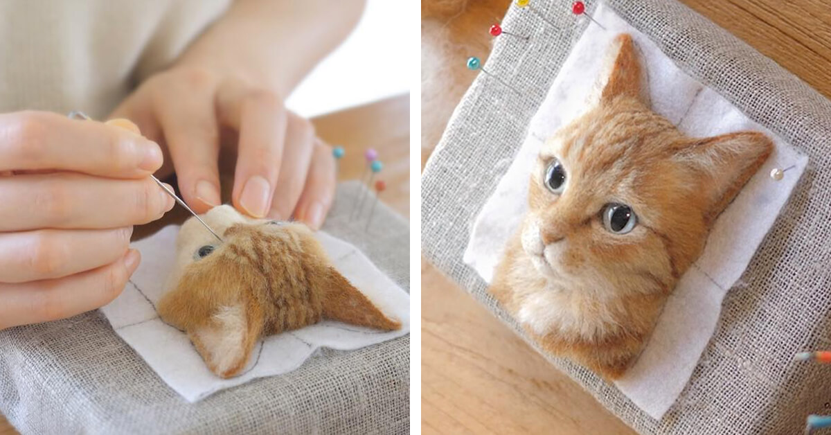 Japanese Artist Crafts Astoundingly Realistic Cats Out of Felted Wool