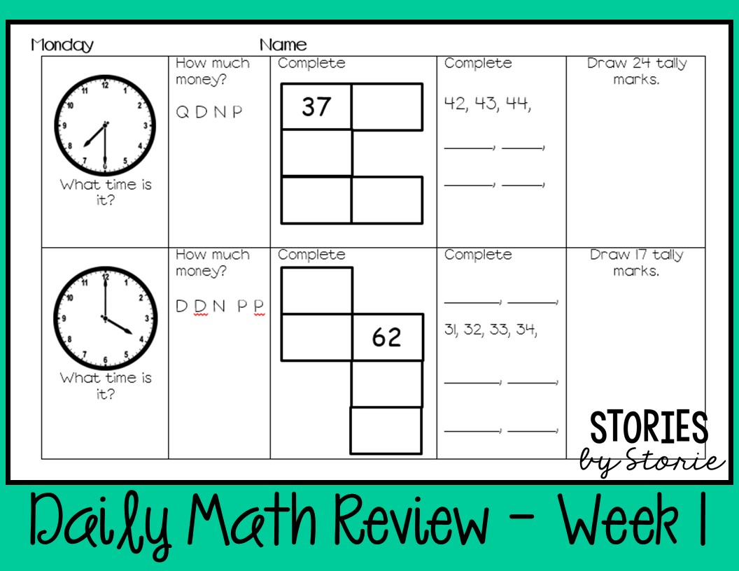 Morning Work - Using a Daily Math Review