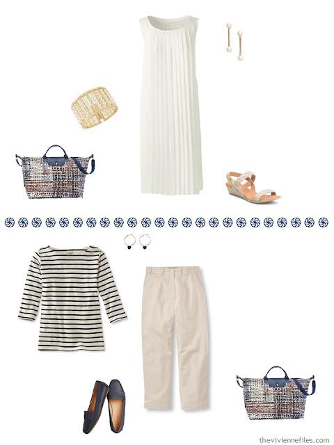 ivory dress, navy & cream breton top with khaki capris