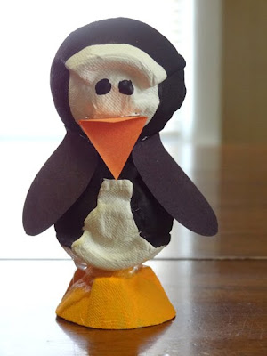 penguin egg carton craft