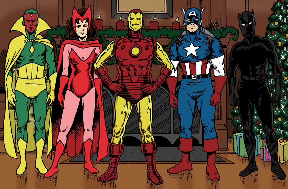 Vision, Scarlet Witch, Iron Man, Captain America, and the Black Panther standing in front of an Avengers Mansion fireplace next to a Christmas tree.