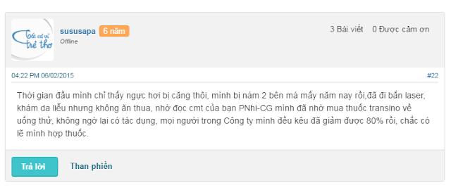 Sản phẩm Transino white c nhận được những phản hồi tích cực từ phía người dùng
