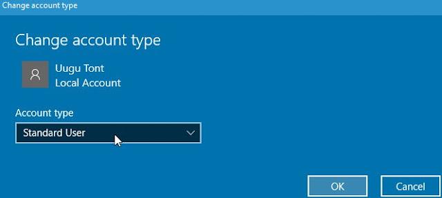 Windows 10, Paramètres, Comptes, Famille et autres personnes, Changer le type de compte. Sélectionnez 'Type de compte' et cliquez sur OK.