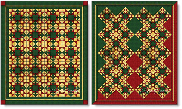 Quilts designed using the CHRISTMAS STAR quilt block - images © Wendy Russell