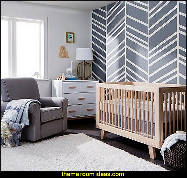 Herringbone Walls Nursery Decorating Ideas Modern Baby Bedrooms