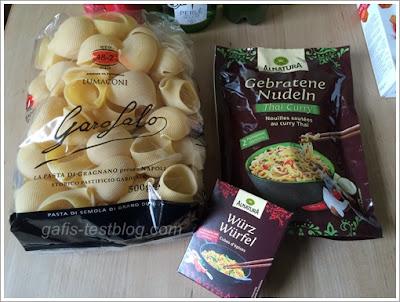 Garofalo Lumaconi, Alnatura Thai Curry Nudelgericht und Alnatura Würzwürfel